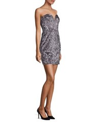 Milly Carly Sequin Strapless Dress Gunmetal