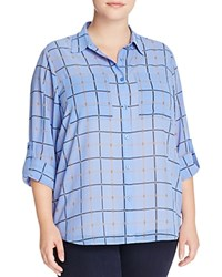 Michael Michael Kors Plus Chain Link Check Shirt Oxford Blue