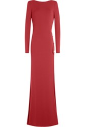 Elie Saab Floor Length Gown With Statement Buttons Red