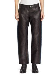 Junya Watanabe Faux Leather Front Jeans Black X Indigo