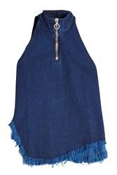 Marques Almeida Frayed Denim Sleeveless Top With Zipper Blue