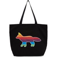 Maison Kitsune Ssense Exclusive Black Rainbow Fox Tote
