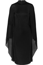 Tom Ford Cape Effect Satin Jersey And Chiffon Dress Black