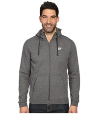Nike Club Fleece Full Zip Hoodie Charcoal Heather Charcoal Heather White Men's Fleece Gray