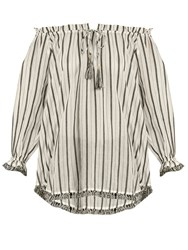 Zimmermann Aerial Striped Cotton Top Ivory Multi