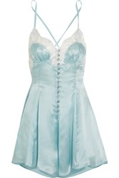 Rosamosario Cosmic Love Metallic Lace Trimmed Silk Satin Playsuit Sky Blue