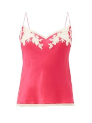 Carine Gilson Lace Trimmed Silk Cami Top Pink Multi