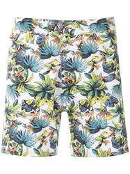 Amir Slama Foliage Print Swim Trunk White