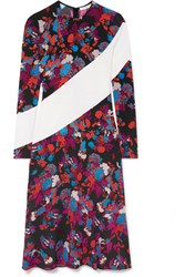 Givenchy Silk Trimmed Floral Print Crepe Midi Dress Black