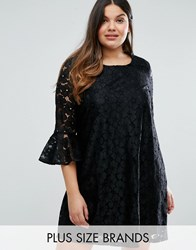 Alice And You Allover Lace Prairie Dress With Fluted Sleeve Black