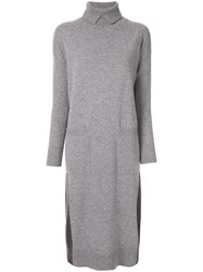 Lorena Antoniazzi Rollneck Knit Dress Grey