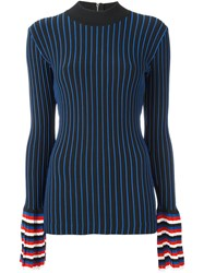 Emilio Pucci Ribbed Contrast Sleeve Sweatshirt Blue