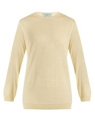 Prada Crew Neck Wool Knit Sweater Light Yellow