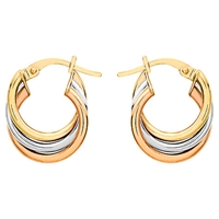 Ibb 9Ct Gold Three Colour Hoop Earrings Gold