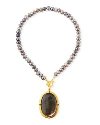 Dina Mackney Titanium Moonstone And Black Mother Of Pearl Necklace