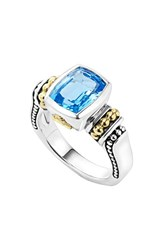 Women's Lagos 'Caviar Color' Small Semiprecious Stone Ring Blue Topaz