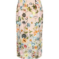 River Island Womens Pink Floral Embroidered Midi Pencil Skirt