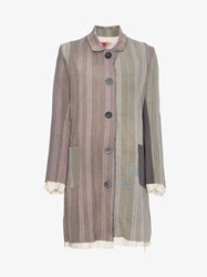 By Walid Martha Stripe Print Linen Coat Grey