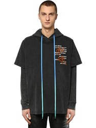 Off White Hooded Double Cotton Jersey T Shirt Black