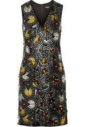 Dkny Embellished Crepe Dress Black