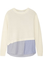 Thakoon Addition Layered Waffle Knit And Stretch Poplin Top