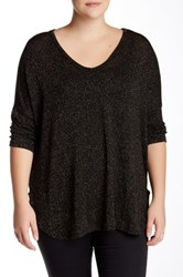 Bobeau Hi Lo V Neck Metallic Threaded Sweater Plus Size Black