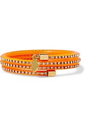 Marc By Marc Jacobs Slinky Silver Tone Crystal And Rubber Bracelet Orange