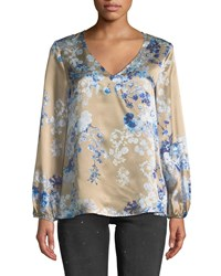 Eleventy Floral Printed Silk Blouse Periwinkle Multi