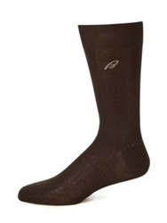 Brioni Ribbed Cotton Socks Brown