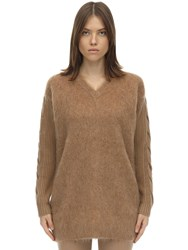 Max Mara Oversize Mixed Wool Knit Sweater Camel
