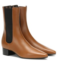 The Row British Leather Ankle Boots Brown