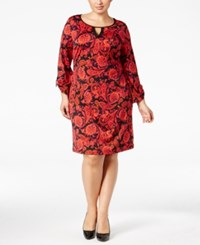 Ny Collection Plus Size Printed Keyhole Shift Dress Melon Affair