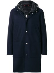 Moncler Hooded Button Coat Polyamide Cashmere Virgin Wool Iv Blue