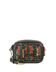 Kensie Floral Faux Leather Crossbody Black Combo