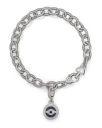 Judith Ripka Evil Eye Charm Link Bracelet With White Black And Blue Sapphires Blue Silver