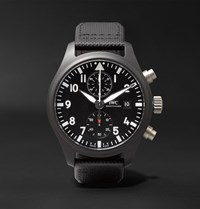 Iwc Schaffhausen Pilot's Chronograph Top Gun 44Mm Ceramic And Leather Watch Black