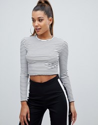 Prettylittlething Striped Long Sleeve Crop Top In Multi Stripe White