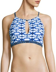 Michael Kors Summer Breeze Printed Bikini Top New Navy