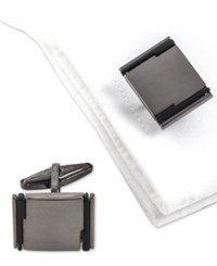 Kenneth Cole Reaction Men's Two Tone Cuff Links Charcoal Black