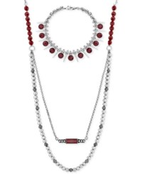 Lucky Brand Silver Tone Red Stone Double Layer Necklace And Bracelet Set