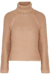Michelle Mason Ribbed Knit Turtleneck Sweater Neutral