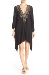 Luxe By Lisa Vogel Women's Luxe 'Premier' Embellished Caftan Cover Up Onyx