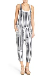 Women's Stateside Stripe Cotton Crop Overalls