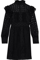 Anna Sui Ruffled Embroidered Cotton Blend Tulle And Guipure Lace Mini Dress Black