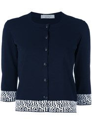 D.Exterior Embroidered Cropped Cardigan Women Polyester Viscose M Blue
