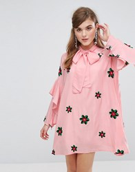 Sister Jane Smock Dress With Tie Neck And Embroidery Pink