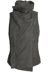 Rick Owens Draped Suede Vest Anthracite