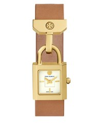 Tory Burch Surrey Lock Rectangular Leather Cuff Band Watch Brown