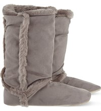 The White Company Inuit Faux Fur Lined Slipper Boots Blossom