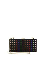 Milly Rhinestone Box Clutch Black Multi